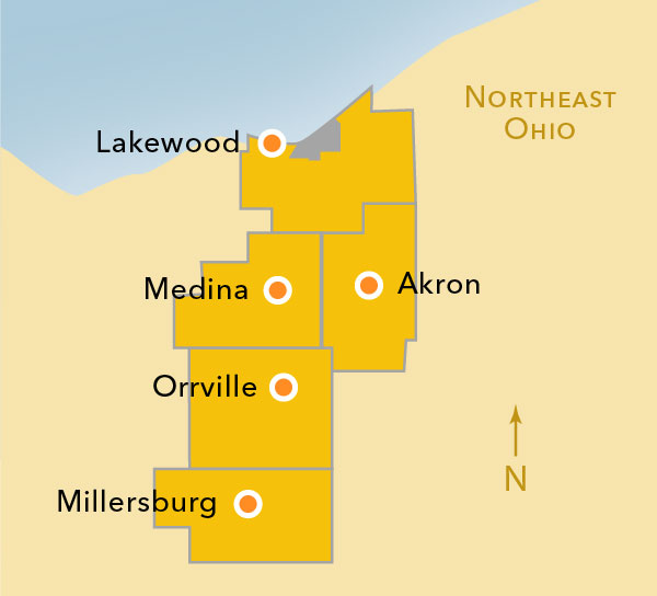 Map showing University of Akron sites in Medina, Lakewood, Orrville and elsewhere