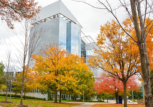 The exterior of the Goodyear Polymer Building on a fall day