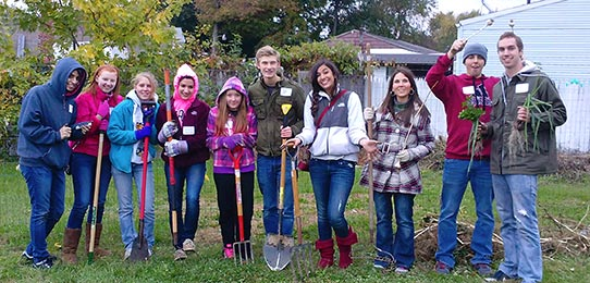 Students on a community service project in the Akron community