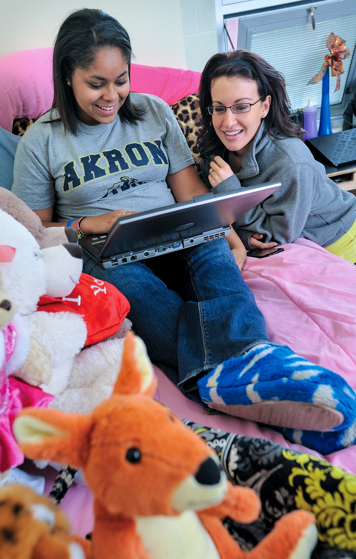 Students in a residence hall at The University of Akron