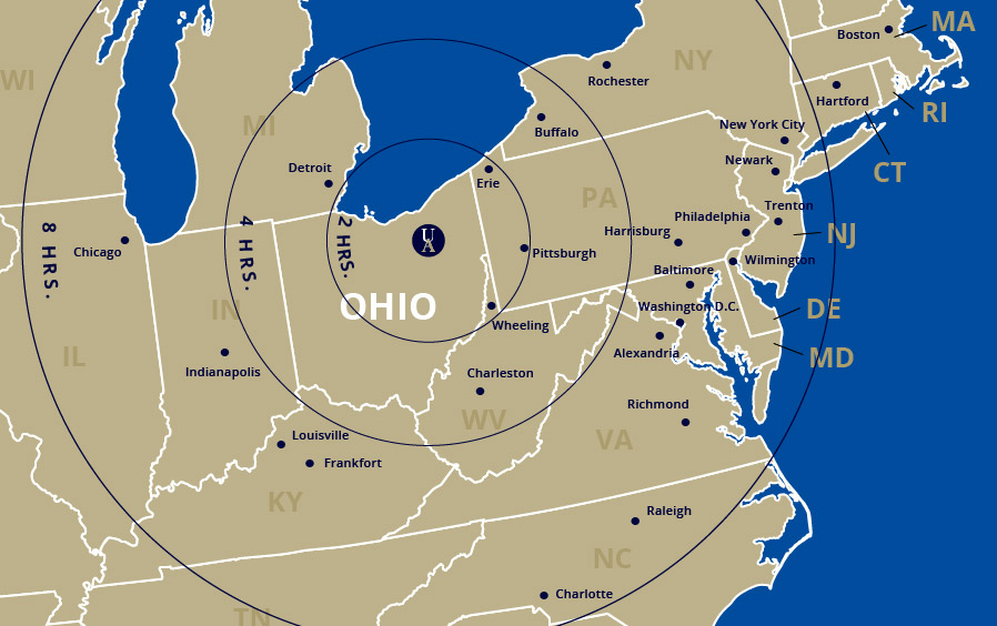 Map showing the driving directions to Akron from major cities in the eastern United States