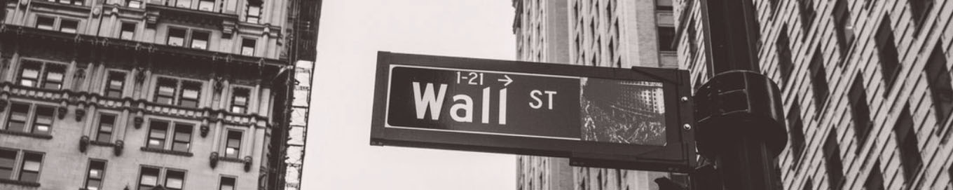Wall Street sign grayscale