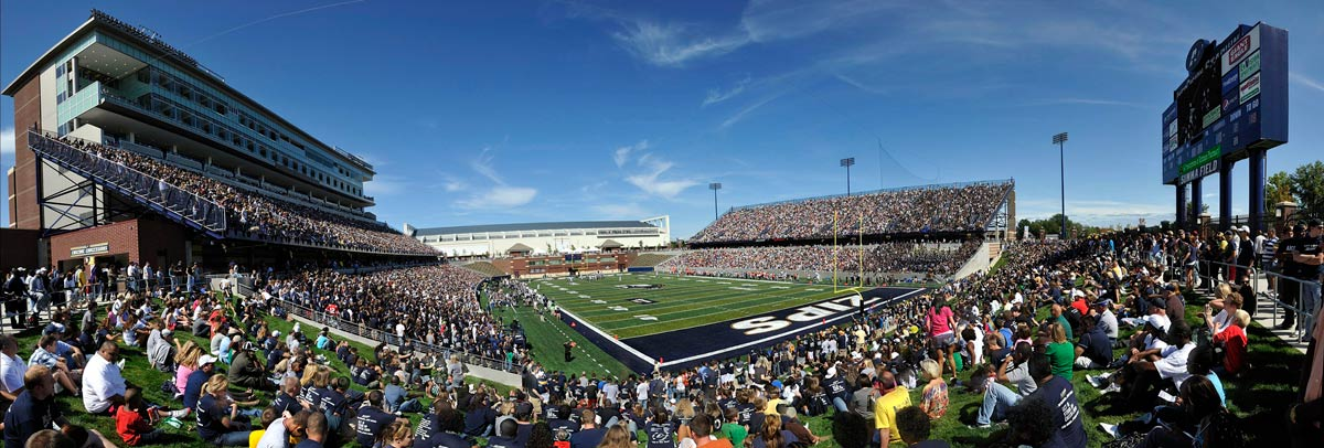Fans pack InfoCision Stadium-Summa Field at The University of Akron for the first football game held on campus in decades
