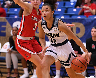 Action during a women's basketball game in Rhodes Arena at The University of Akron