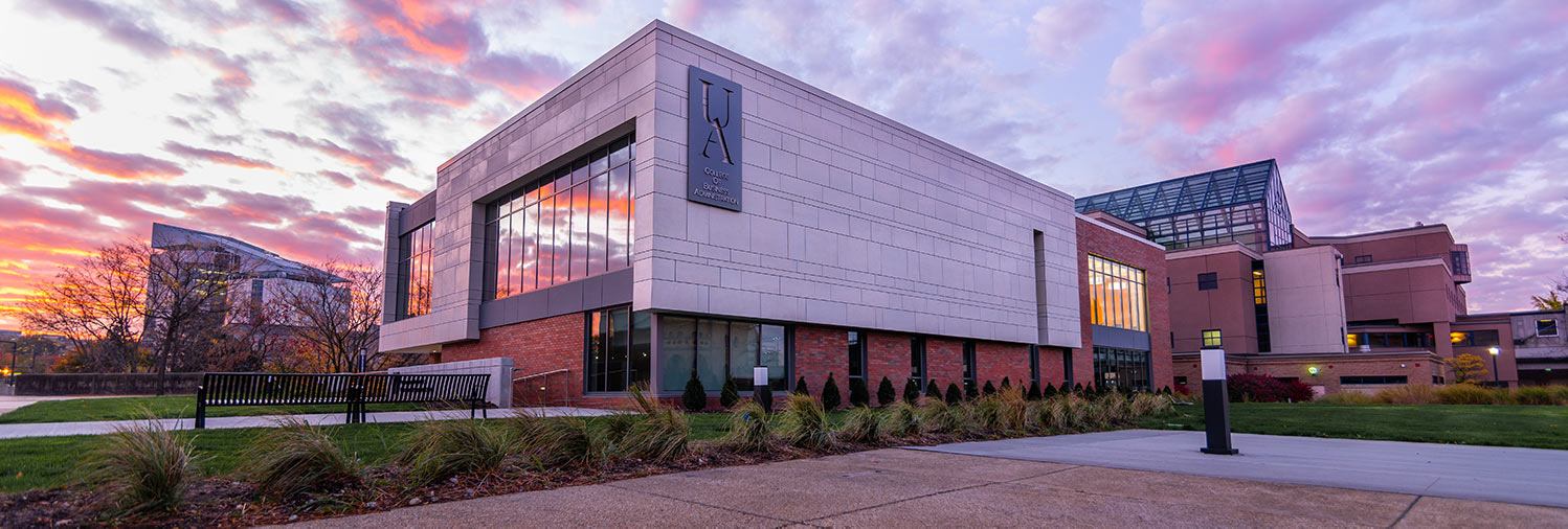 The new professional development center at The University of Akron's College of Business Administration at sunrise