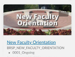 A tile showing New Faculty Orientation in Brightspace