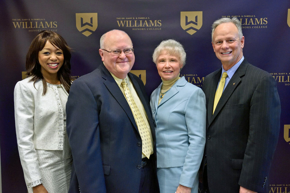 Dean Lakeesha Ransom, Dr Gary B. and Pamela S. Williams, President Scott Scarborough