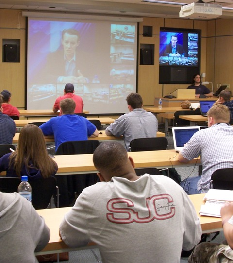Students in a political science class at The University of Akron