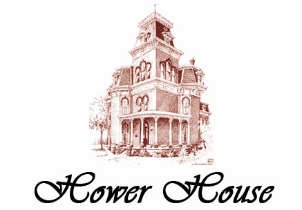 Line drawing of the Hower House at The University of Akron
