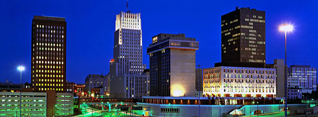 The skyline of Akron, home to companies and nonprofits where our students intern