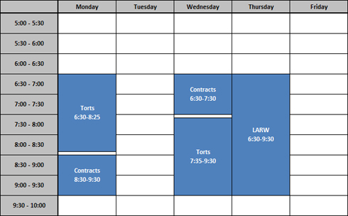 sample of schedules