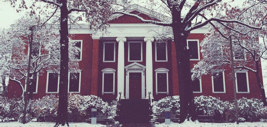 Buchtel Hall in winter