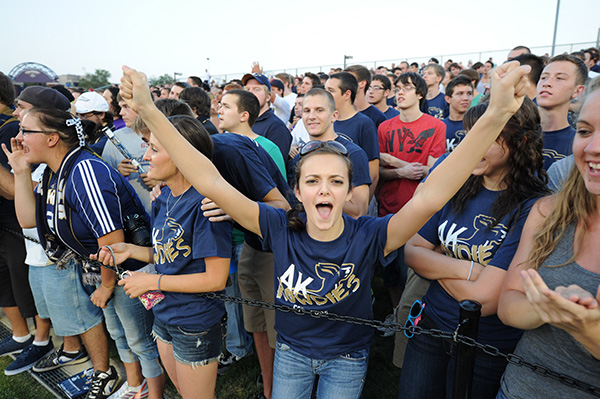 University of Akron students at a soccer game