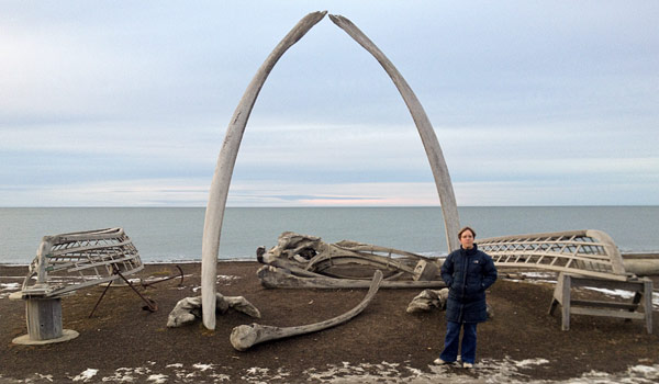 University of Akron researcher with whale bones in Barrow, Alaska