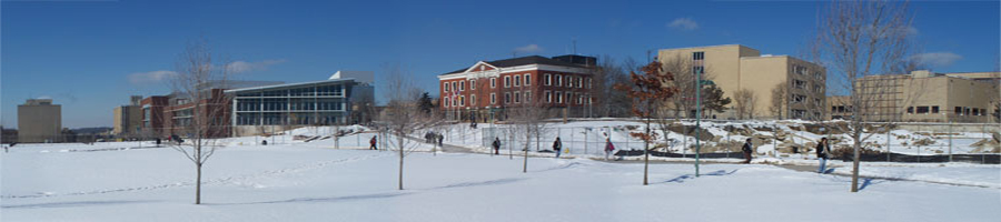 The University of Akron campus on a snowy morning.