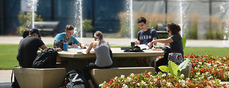 Engineering students studying on campus at The University of Akron