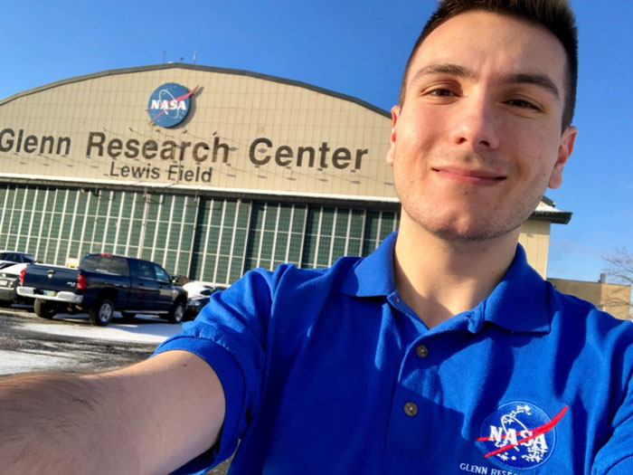 A student outside of NASA's Glenn Research Center