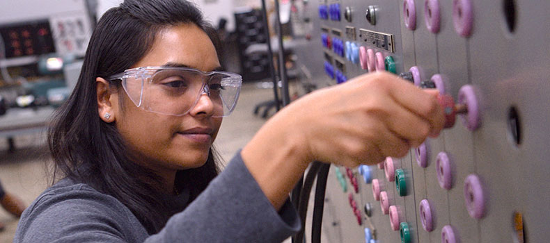 Graduate students at work in a lab at The University of Akron College of Engineering