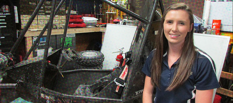 Liz Clifford, team caption of the Baja team at The University of Akron's College of Engineering