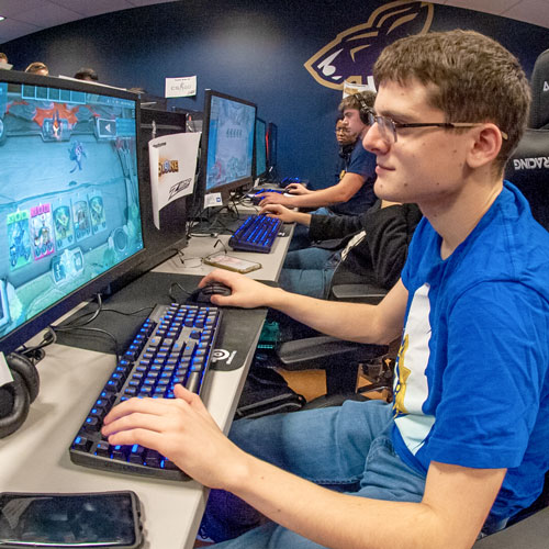 Esports players on the Akron campus