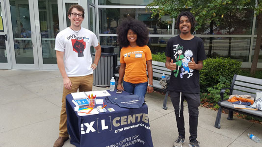 UA students representing the EXL Center during a campus visit day