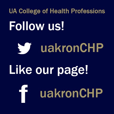 The college of health professions social media username is @uakronCHP for twitter and facebook.