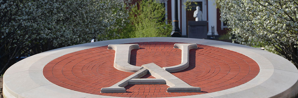 The letters UA in brick at the center of The University of Akron campus