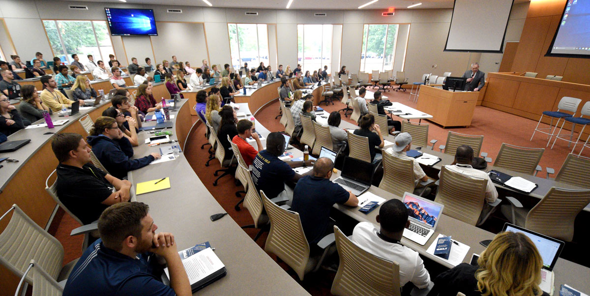 Students in a modern classroom at The University of Akron School of Law