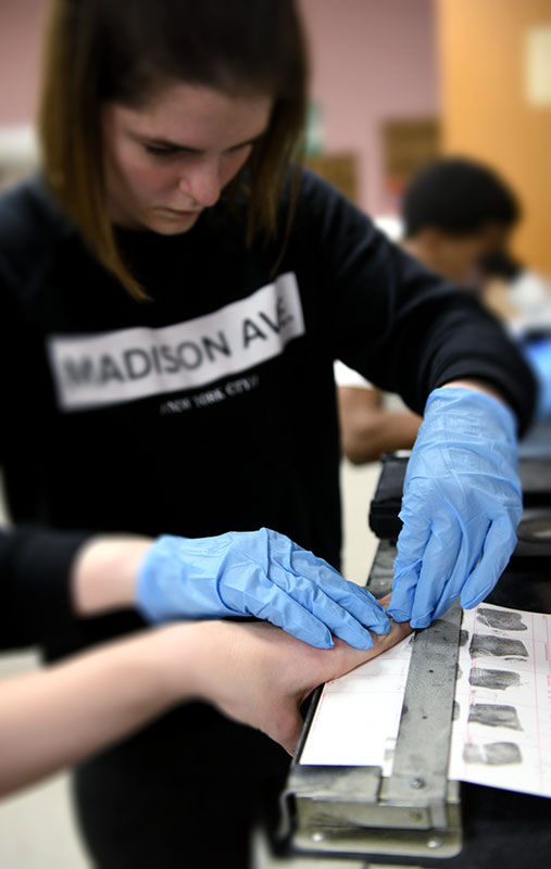 Fingerprinting in the University of Akron's Criminal Justice Forensics Lab