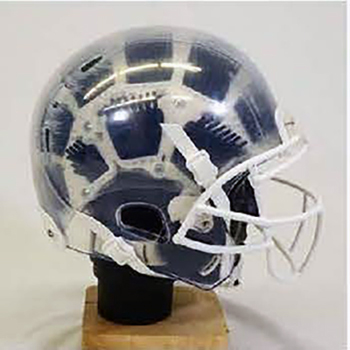 A transparent football helmet