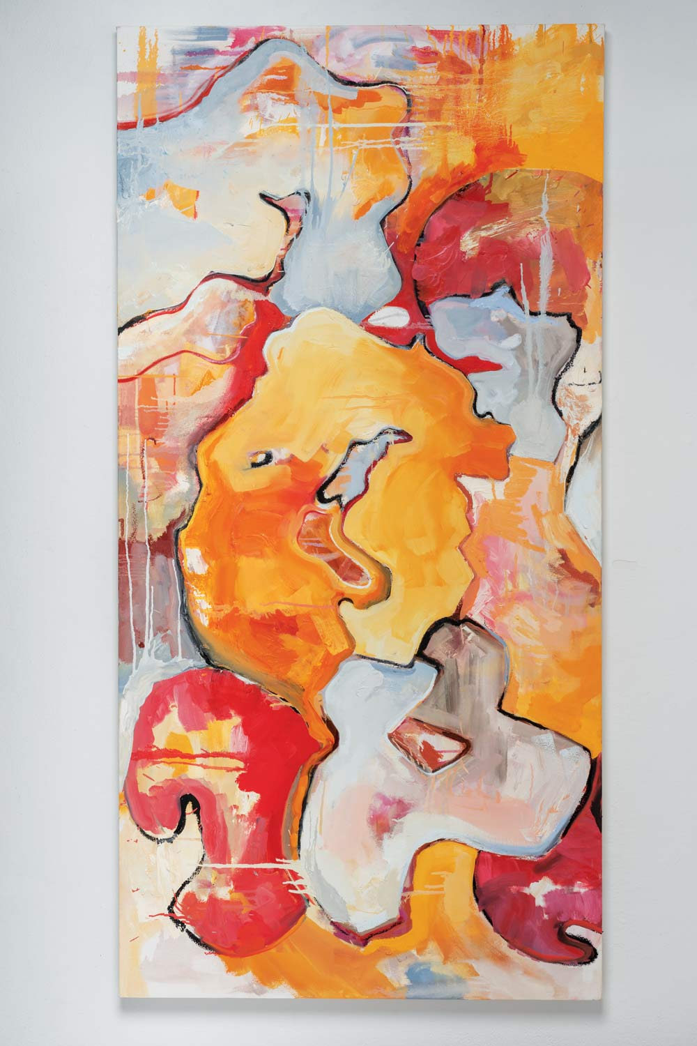 Abigail Cipar's abstract art with red, orange and white elements