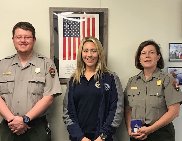Dr. Stacy Willett with park rangers