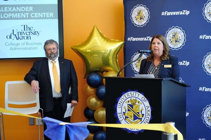 Dr. Susan Hanlon, interim dean of the CBA, speaks during the ribbon cutting ceremony