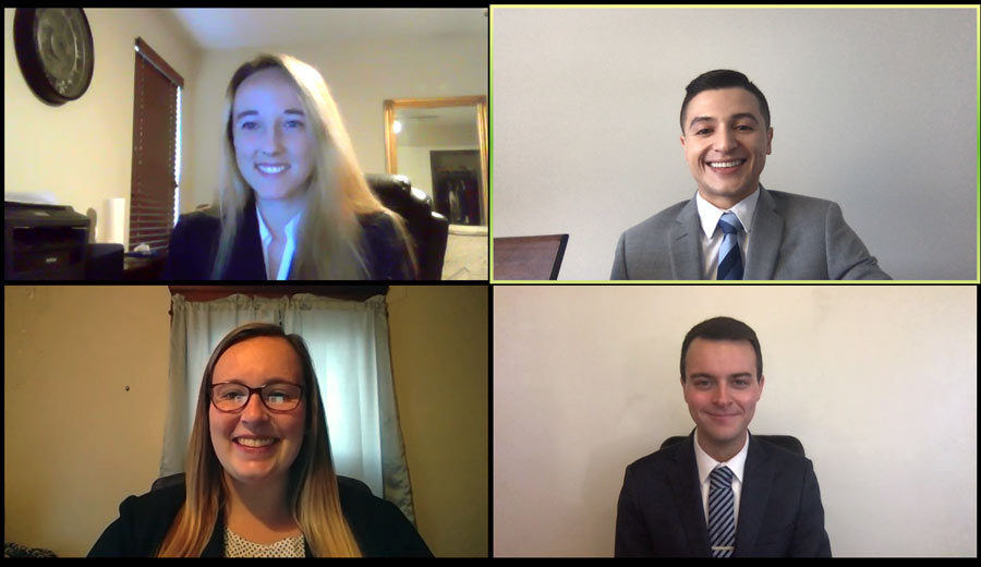Four Akron Law students participate in a mock trial competition virtually