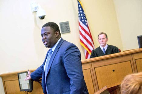 Akron Law student Imokhai Okolo during a trial law competition in Texas