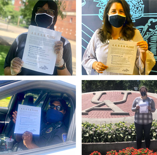 Four Zips holding pledges that they will wear masks on campus and take other health precautions