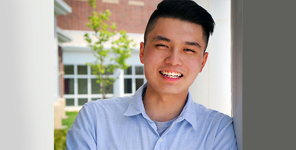 UA student Daniel Gao outside his residence hall