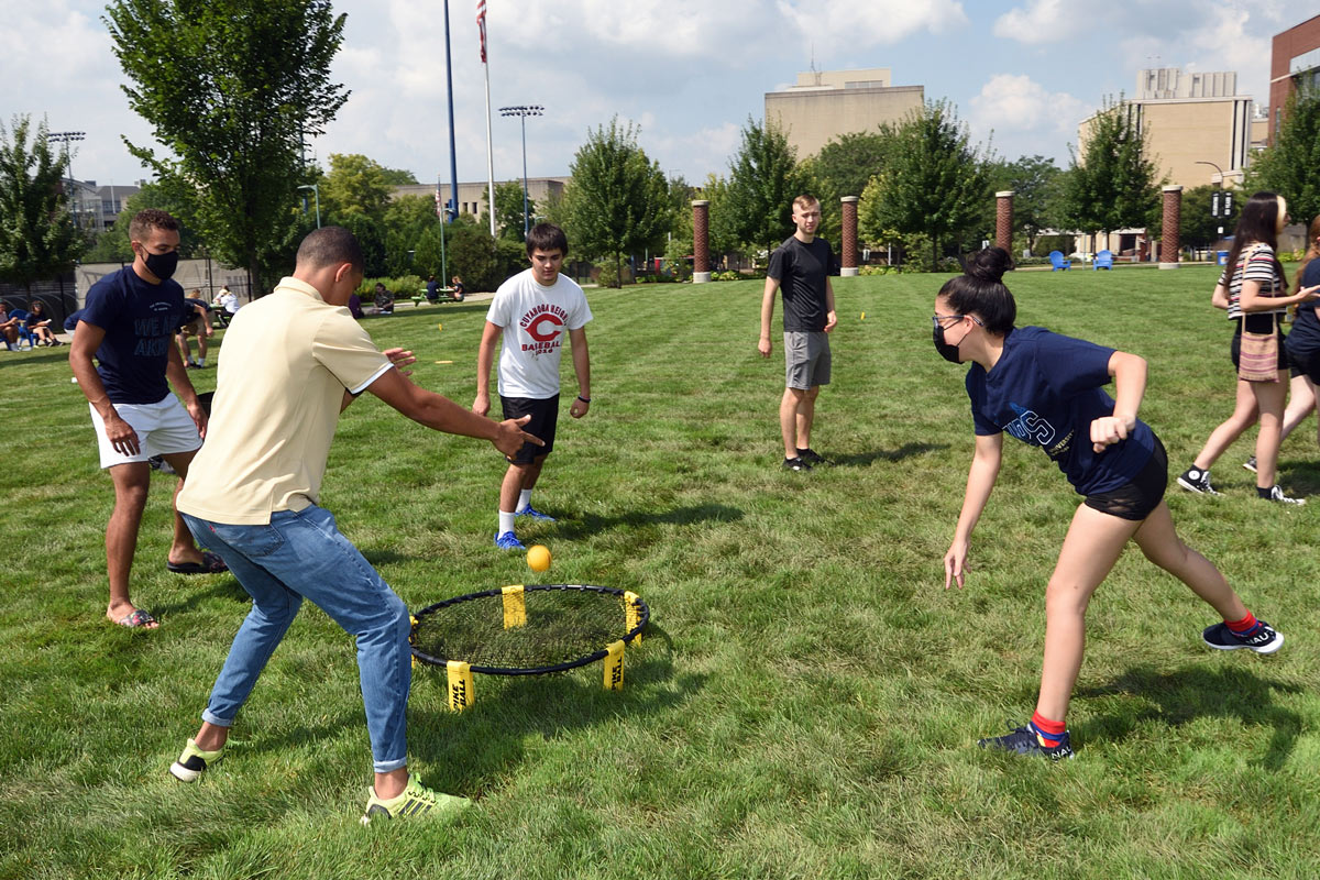 New students play a game on Coleman Common