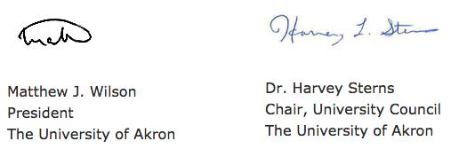 President Matthew J. Wilson's signature and Dr. Harvey Sterns' signature