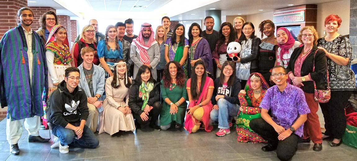 International students gather for an event at the university of akron