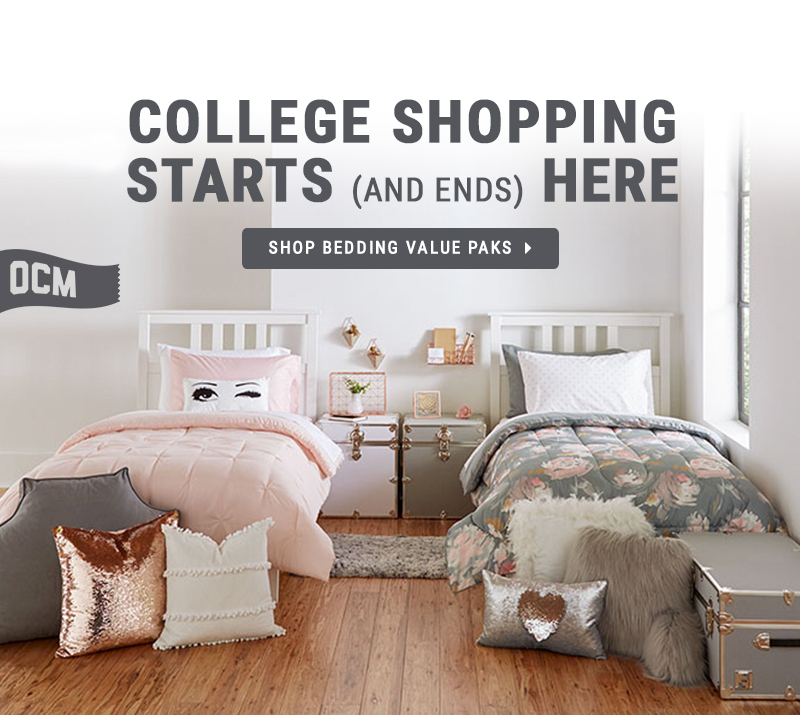 Shopping for dorm essentials bedding.