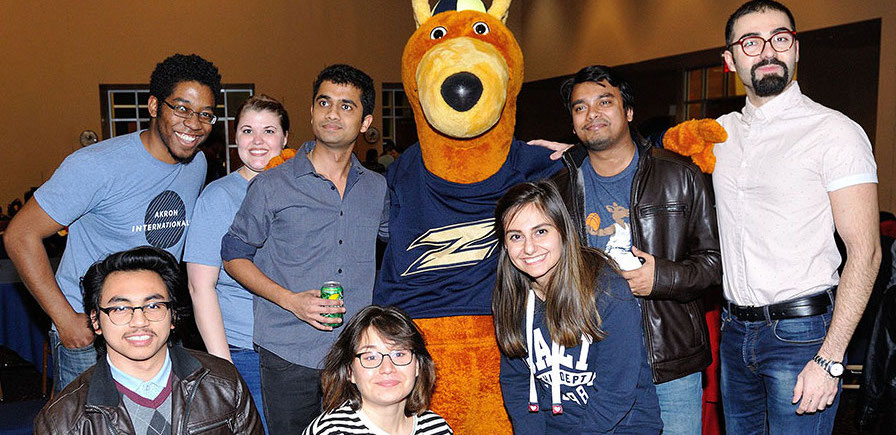 The University of Akron welcomes a group of new international students at welcome reception.