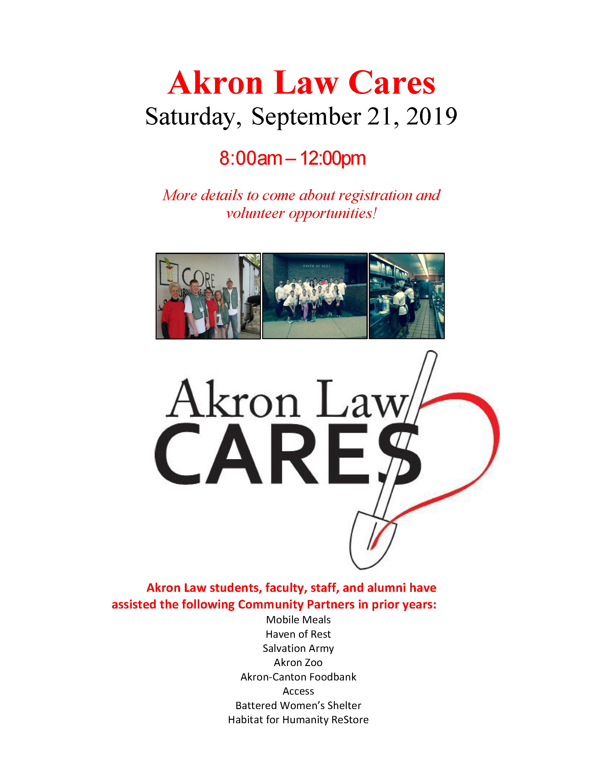 Akron Law Cares flyer 2019