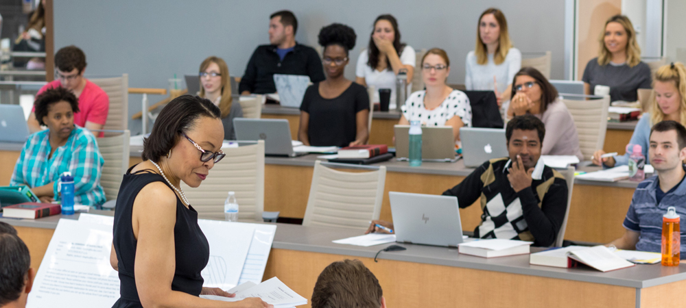 Akron Law students taking notes in class at The University of Akron