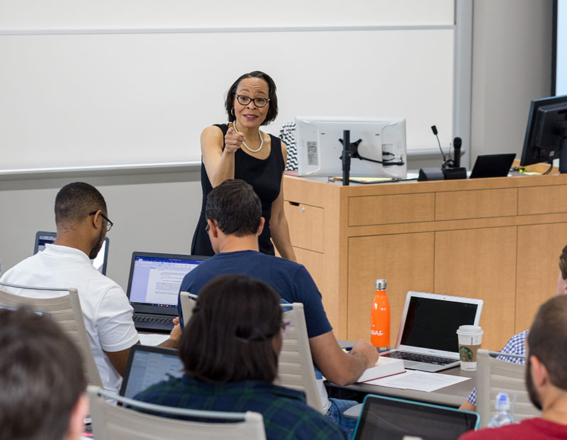 A professor lectures at The University of Akron's School of Law