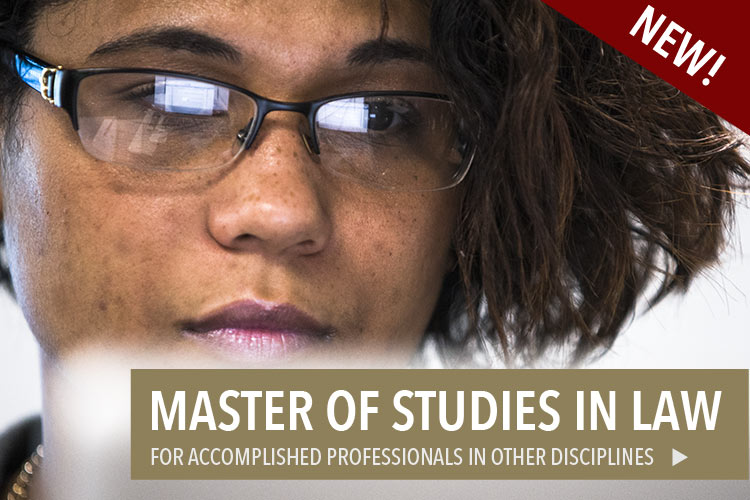 Woman enrolled in the Master of Studies in Law at The University of Akron, a new degree for accomplished professionals in other disciplines