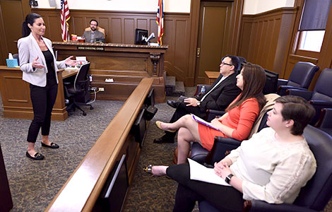 Student lawyers at Akron Law argue cases in a mock courtroom