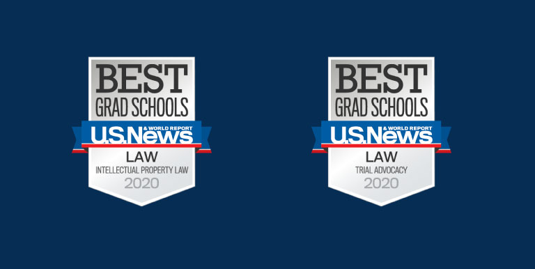 U.S. News and World Report badges for excellence in intellectual property law and trial advocacy
