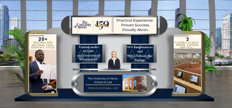 A rendering of the Akron Law booth at the Law School Admission Council forum