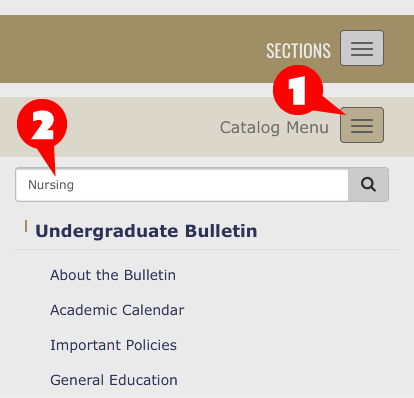 How to access the slide-out menu so you can search for an academic degree
